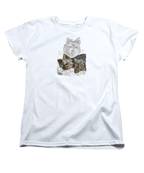 Women's T-Shirt (Standard Cut) featuring the drawing Yorkie - Yorkshire Terrier Dog Print by Kelli Swan