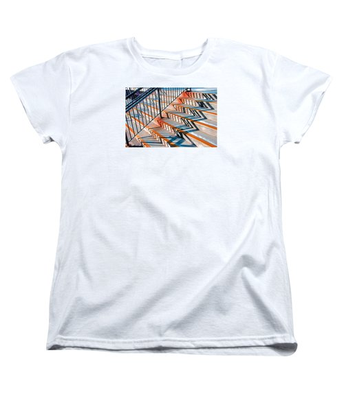 Women's T-Shirt (Standard Cut) featuring the photograph Zig Zag Shadows On Train Station Steps by Gary Slawsky