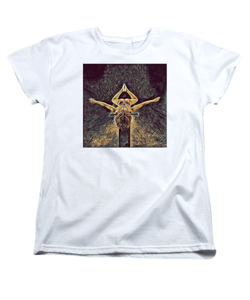 1038s-zac Dancer Flying On Pedestal Nudes In The Style Of Antonio Bravo  Women's T-Shirt (Standard Cut) by Chris Maher