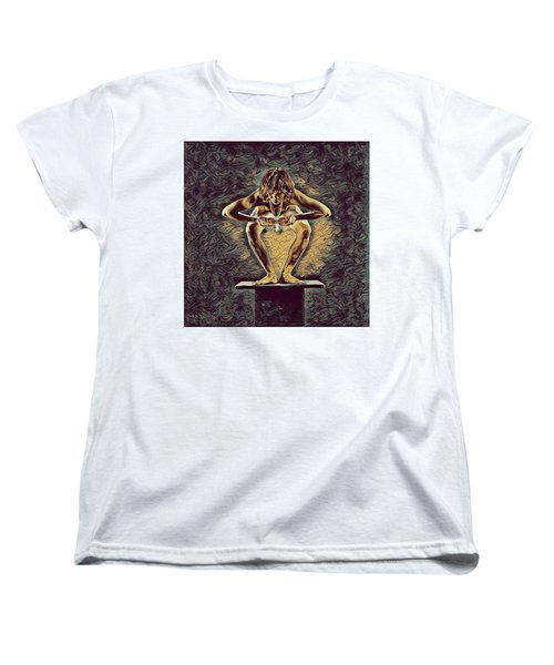 1083s-zac Dancer Squatting On Pedestal With Amulet Nudes In The Style Of Antonio Bravo  Women's T-Shirt (Standard Cut) by Chris Maher