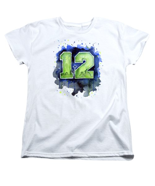12th Man Seahawks Art Seattle Go Hawks Women's T-Shirt (Standard Cut) by Olga Shvartsur