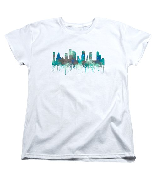 Women's T-Shirt (Standard Cut) featuring the digital art Houston Texas Skyline by Marlene Watson