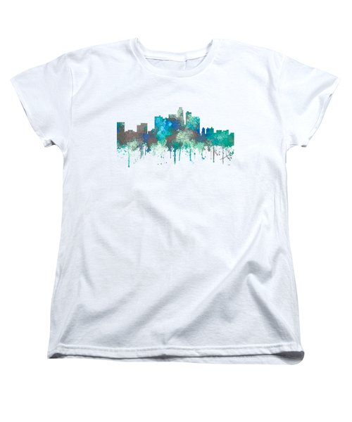 Women's T-Shirt (Standard Cut) featuring the digital art Los Angeles California Skyline by Marlene Watson