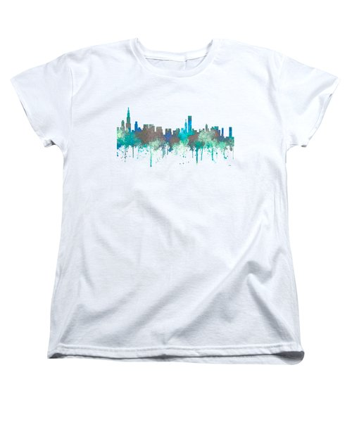 Women's T-Shirt (Standard Cut) featuring the digital art Chicago Illinois Skyline by Marlene Watson