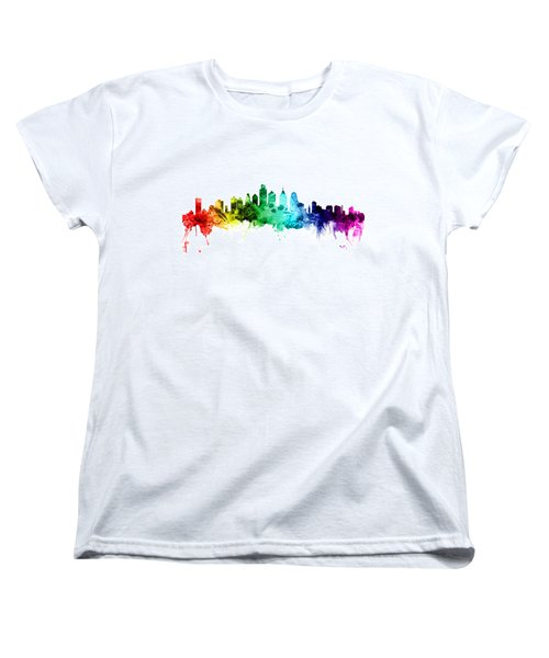 Philadelphia Pennsylvania Skyline Women's T-Shirt (Standard Cut) by Michael Tompsett