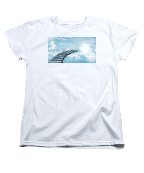 Women's T-Shirt (Standard Cut) featuring the digital art Stairway To Heaven by Les Cunliffe
