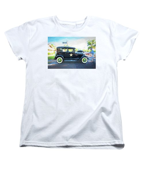 Women's T-Shirt (Standard Cut) featuring the photograph 1929 Ford Model A Tudor Police Sedan  by Rich Franco