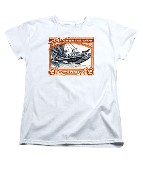 Women's T-Shirt (Standard Cut) featuring the painting 1932 Niue Island Stamp by Historic Image
