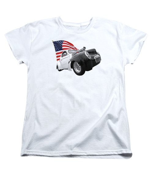 Women's T-Shirt (Standard Cut) featuring the photograph 1941 Willys Coupe With Us Flag by Gill Billington