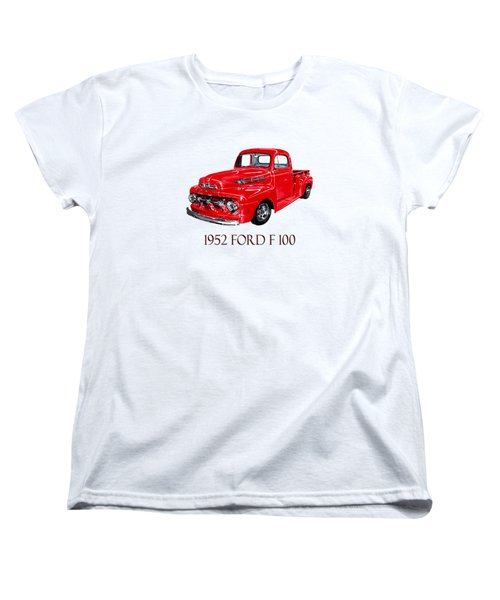 Big Red 1952 Ford F-100 Pick Up Women's T-Shirt (Standard Cut) by Jack Pumphrey