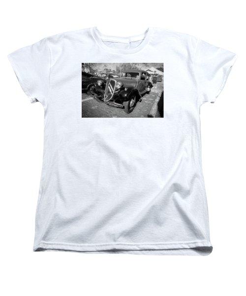 Women's T-Shirt (Standard Cut) featuring the photograph 1953 Citroen Traction Avant Bw by Rich Franco