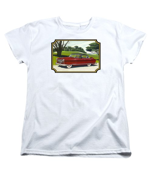 1953 Nash Rambler Car Americana Rustic Rural Country Auto Antique Painting Red Golf Women's T-Shirt (Standard Cut) by Walt Curlee