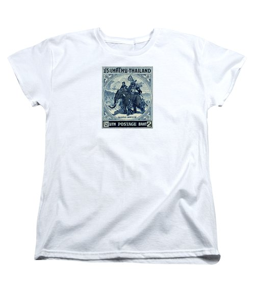 1955 Thailand War Elephant Stamp Women's T-Shirt (Standard Cut) by Historic Image