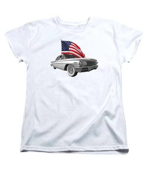 Women's T-Shirt (Standard Cut) featuring the photograph 1960 Oldsmobile With Us Flag by Gill Billington