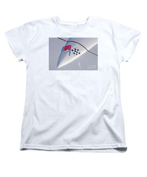 Women's T-Shirt (Standard Cut) featuring the photograph 1966 Corvette Hood Ornament  by Aloha Art