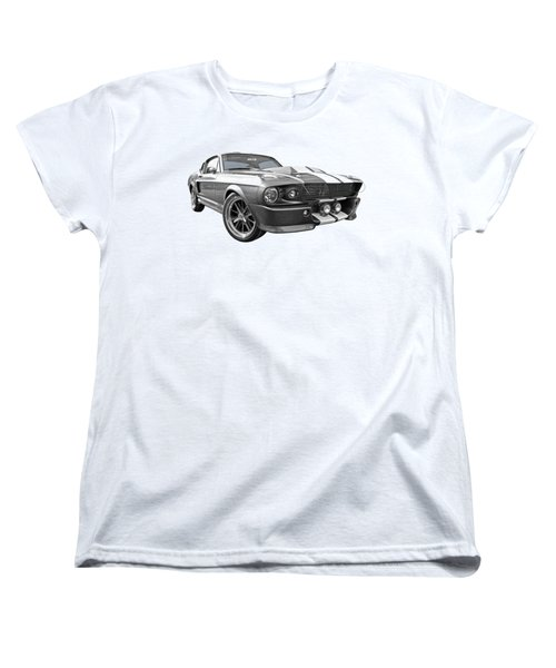 1967 Eleanor Mustang In Black And White Women's T-Shirt (Standard Cut) by Gill Billington