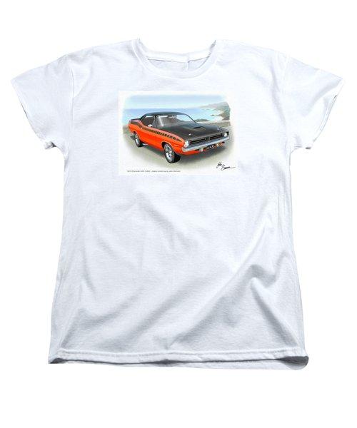 1970 Barracuda Aar  Cuda Classic Muscle Car Women's T-Shirt (Standard Cut) by John Samsen
