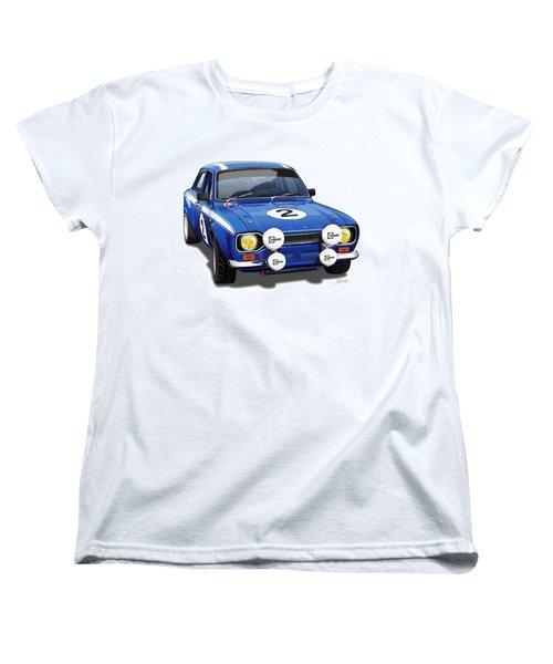1970 Ford Escort Mexico Illustration Women's T-Shirt (Standard Cut) by Alain Jamar