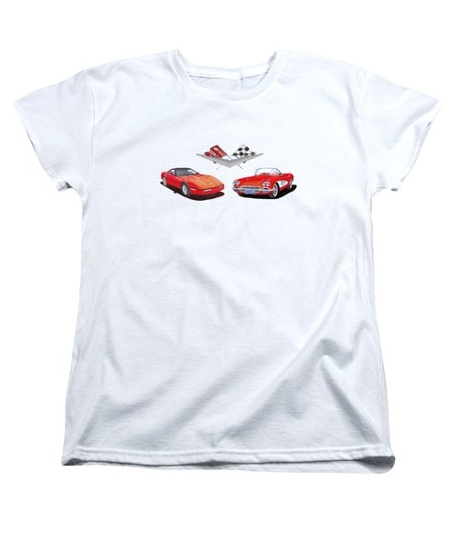 1986 And 1961 Corvettes Women's T-Shirt (Standard Cut) by Jack Pumphrey