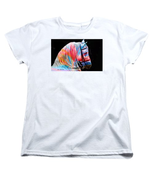 Women's T-Shirt (Standard Cut) featuring the painting Abstract White Horse 19 by J- J- Espinoza