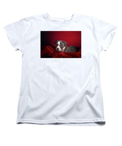 American Pitbull Puppy Women's T-Shirt (Standard Cut) by Peter Lakomy