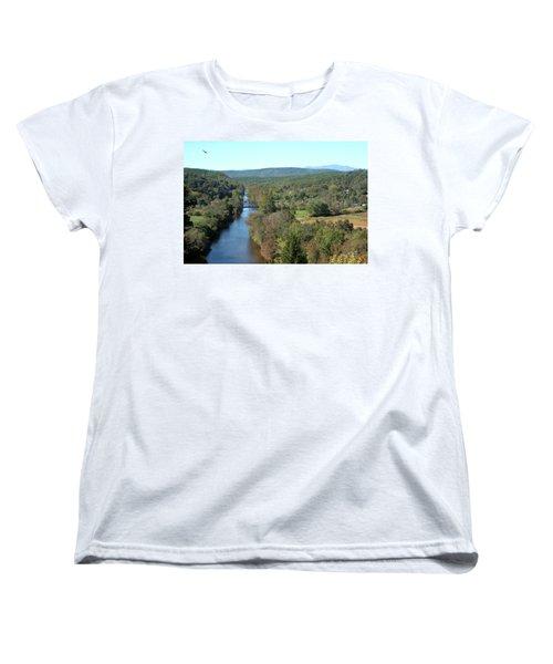 Autumn Landscape With Tye River In Nelson County, Virginia Women's T-Shirt (Standard Cut) by Emanuel Tanjala
