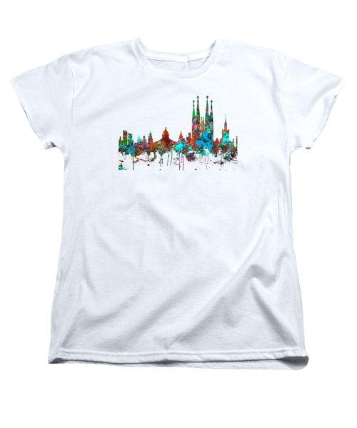 Barcelona Spain Skyline Women's T-Shirt (Standard Cut)