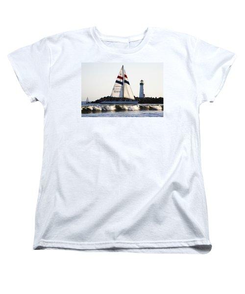 2 Boats Approach Women's T-Shirt (Standard Cut) by Marilyn Hunt