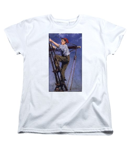 Women's T-Shirt (Standard Cut) featuring the painting Going Aloft by Henry Scott Tuke