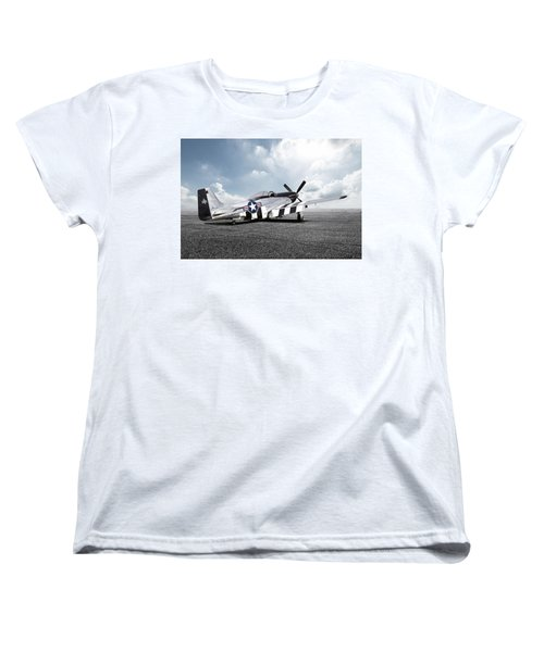 Women's T-Shirt (Standard Cut) featuring the digital art Quick Silver P-51 by Peter Chilelli
