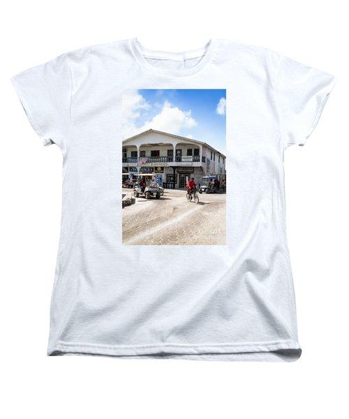 Street Scene Of San Pedro Women's T-Shirt (Standard Cut) by Lawrence Burry