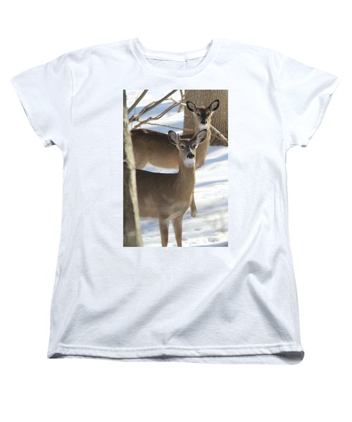 White Tailed Deer Smithtown New York Women's T-Shirt (Standard Cut) by Bob Savage