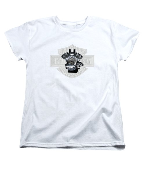 Women's T-Shirt (Standard Cut) featuring the digital art 2002 Harley-davidson Revolution Engine With 3d Badge  by Serge Averbukh
