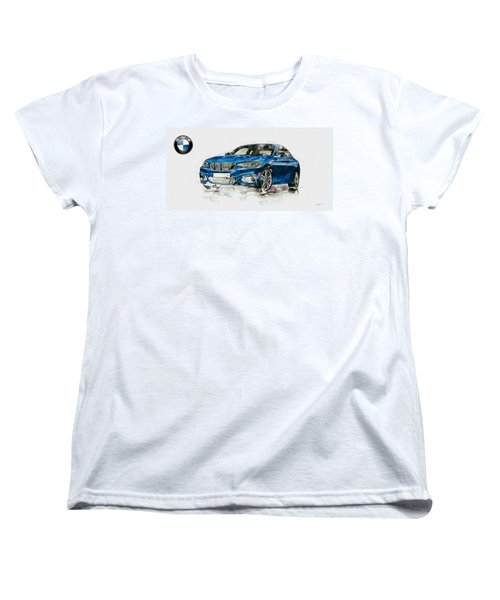 2014 B M W 2 Series Coupe With 3d Badge Women's T-Shirt (Standard Cut) by Serge Averbukh