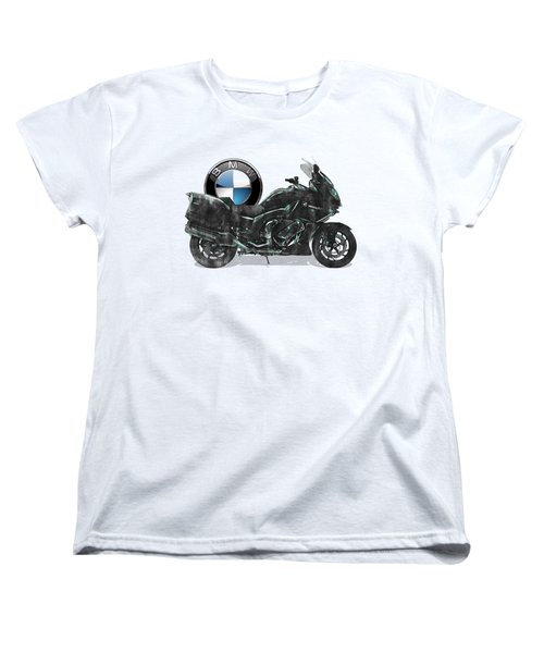 Women's T-Shirt (Standard Cut) featuring the digital art 2016 Bmw-k1600gt Motorcycle With 3d Badge Over Vintage Blueprint  by Serge Averbukh