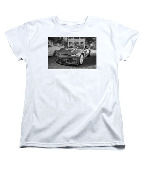 Women's T-Shirt (Standard Cut) featuring the photograph 2017 Chevrolet Camaro Ss2 Bw by Rich Franco