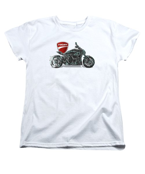 Women's T-Shirt (Standard Cut) featuring the digital art 2017 Ducati Xdiavel-s Motorcycle With 3d Badge Over Vintage Blueprint  by Serge Averbukh
