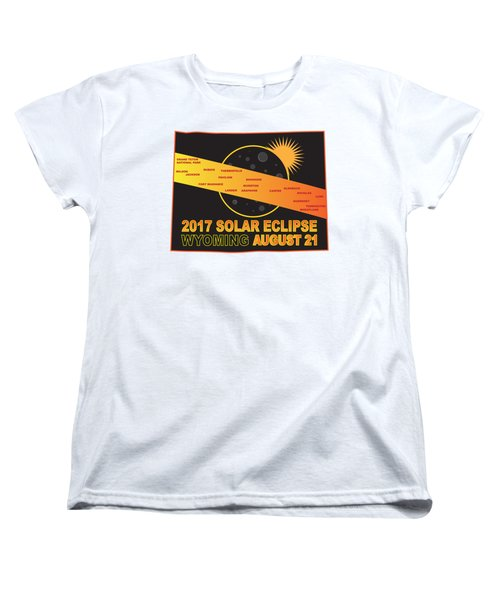 2017 Solar Eclipse Across Wyoming Cities Map Illustration Women's T-Shirt (Standard Fit)