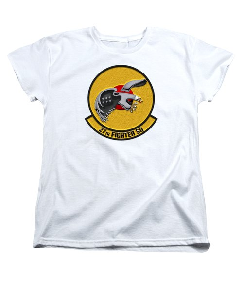 27th Fighter Squadron - 27 Fs Patch Over White Leather Women's T-Shirt (Standard Cut) by Serge Averbukh