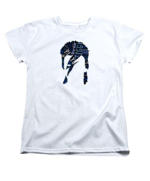 David Bowie Ziggy Stardust Song Lyrics Women's T-Shirt (Standard Cut) by Marvin Blaine