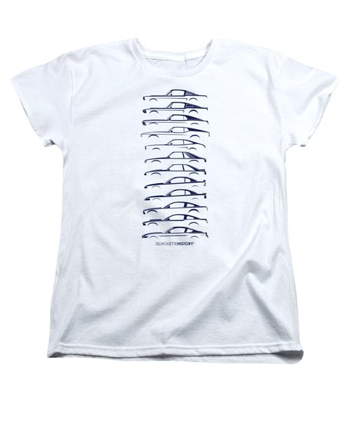 Ford Mustang Silhouettehistory Women's T-Shirt (Standard Cut) by Gabor Vida