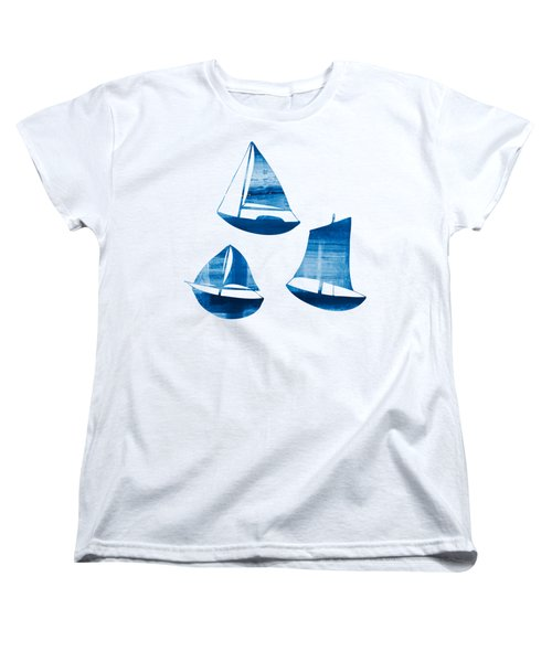 3 Little Blue Sailing Boats Women's T-Shirt (Standard Cut) by Frank Tschakert