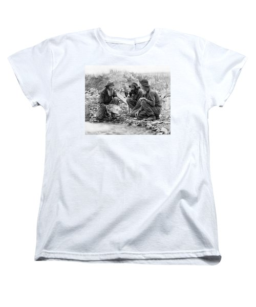 3 Men And A Dog Panning For Gold C. 1889 Women's T-Shirt (Standard Cut) by Daniel Hagerman