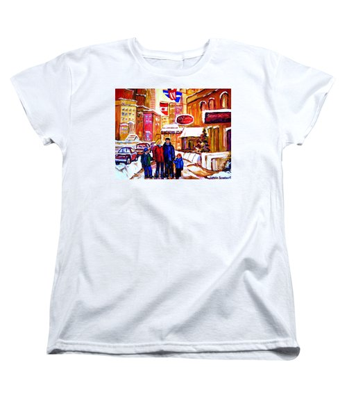 Montreal Street In Winter Women's T-Shirt (Standard Cut) by Carole Spandau