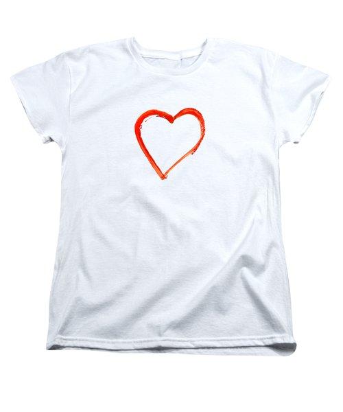 Painted Heart - Symbol Of Love Women's T-Shirt (Standard Cut) by Michal Boubin