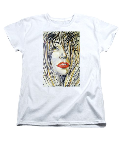 Women's T-Shirt (Standard Cut) featuring the painting Red Lipstick 081208 by Selena Boron