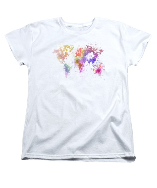 Women's T-Shirt (Standard Cut) featuring the painting World Map Painting by Setsiri Silapasuwanchai