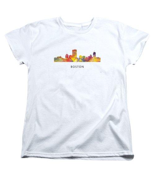 Boston Massachusetts Skyline Women's T-Shirt (Standard Cut) by Marlene Watson