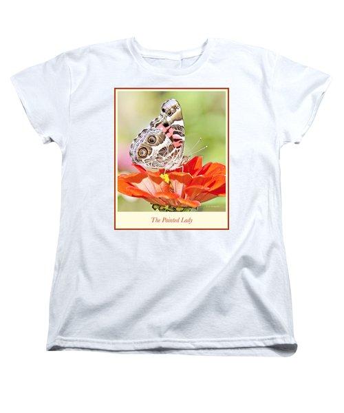 Painted Lady Butterfly On Zinnia Flower Women's T-Shirt (Standard Cut) by A Gurmankin