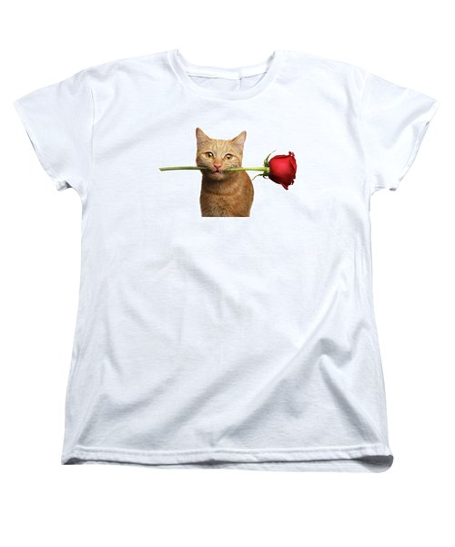Portrait Of Ginger Cat Brought Rose As A Gift Women's T-Shirt (Standard Cut) by Sergey Taran